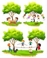 Een reeks kinderen die in aard spelen