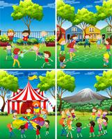 Four scene of children playing in the park