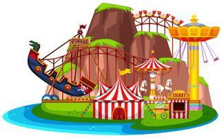 Parque de diversión aislado paisaje