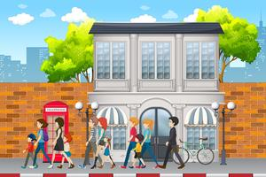 Street scene with people vector