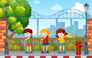 Children danceing in park vector