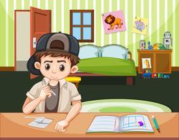 Niño haciendo drogas en el dormitorio