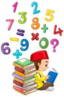 Muslim boy reading book with numbers