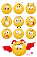 Yellow balls with facial expressions