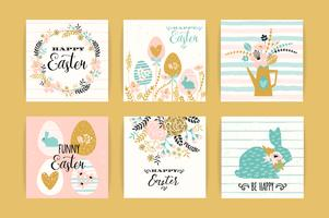 Happy Easter. Vector templates with lettering design