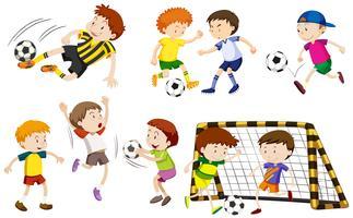Muchos chicos jugando futbol