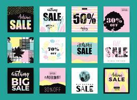 Set van artistieke creatieve herfst verkoop kaarten.