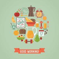 Vektor modern platt design illustration av God morgon.