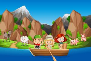 Camping children paddle wooden boat
