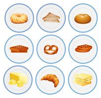 Different types of pastries on the plates
