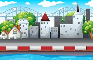 Plats med byggnader i staden