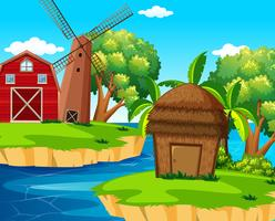 Background scene with barn and windmill on island