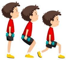 Een reeks oefening van het gewicht van de jongen
