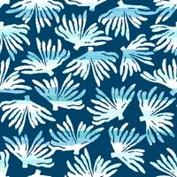 Vector sea seamless pattern with hand drawn textures