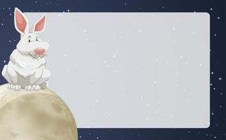Bordure design avec lapin sur lune