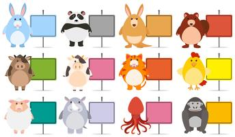 Animals with Colourful Blank Banner vector