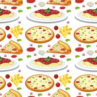 Pasta and pizza seamless pattern
