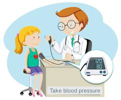 A Girl Take Blood Pressure with Doctor