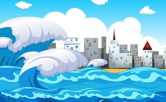 Natural disaster scene tsunami vector