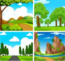 Fyra vackra gröna naturlandskap