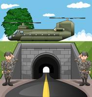 Soldaten und Kampfjet