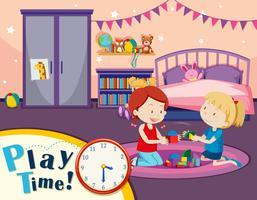 Niñas jugando juguetes en el dormitorio