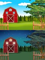 Röd lada på gården dag och natt