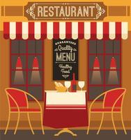 Vektor modern platt design illustration av restaurang.