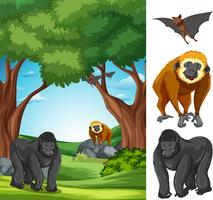 Ape in the nature landscape vector