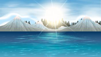 Nature scene with snow mountains and lake vector
