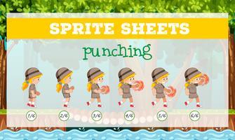 Sprite sheets girl punching