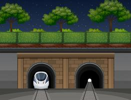 An underground train transportation