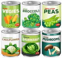 Set of canned vegetable