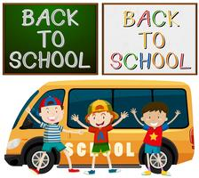 Back to school theme with kids and school van