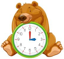 Cartoon bear on clock template