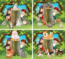 Children and wild animals in the forest
