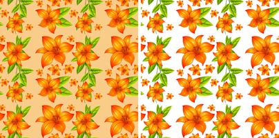 Seamless background with orange flowers vector
