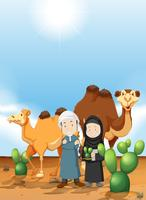 Arab people and camel on the desert ground