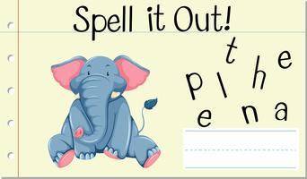 Spell English word elephant