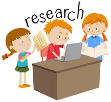 Kids doing research education flashcard