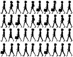 Silueta, de, pessoas andando