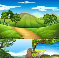 Tre scener med berg på dagtid