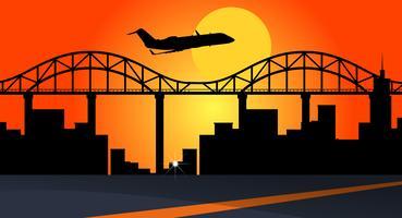 Cena de fundo com avião sobrevoando edifícios da cidade