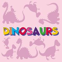 Dinosaurs with silhouette creatures in background