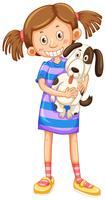 Nettes Mädchen, das netten Hund anhält