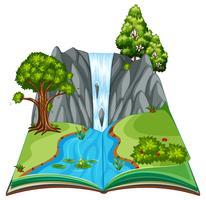 Un paisaje de libro emergente vector