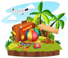 Summer theme with bag and toys vector