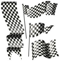 Different designs of racing flags