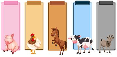 Set of farm animals border vector