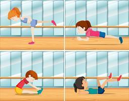 En uppsättning ungdomar tränar
